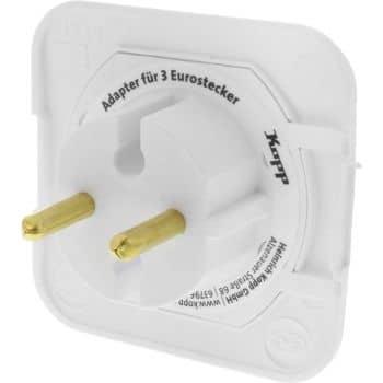 kopp euro adapter 3 fach extra flach arktis. Black Bedroom Furniture Sets. Home Design Ideas
