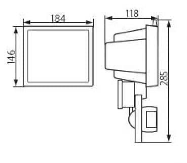 kanlux aussenstrahler mit bewegungsmelder schwarz f r. Black Bedroom Furniture Sets. Home Design Ideas