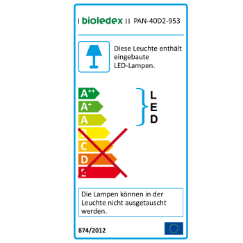 Bioledex LED Panel 620x620 1-10V dimmbar 40W 4050Lm 4000K 62x62cm