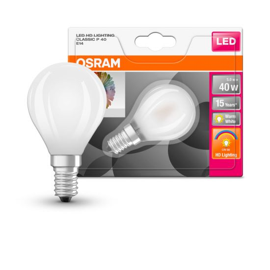 Osram LED Birne E14 STAR Classic 5W warmweiss matt 90Ra 4058075813694 wie 40W
