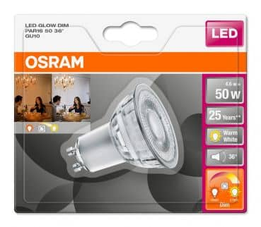 Osram GU10 LED Spot GLOWdim PAR16 4,6W 350Lm dimmbar warmweiss