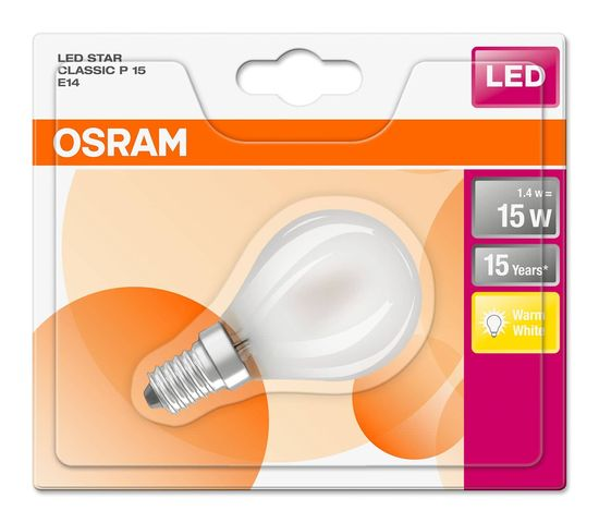 OSRAM STAR E14 P LED Lampe 1,4W 136Lm 2700K warmweiss wie 15W