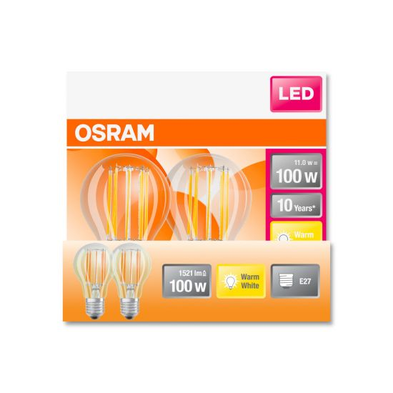 2er Pack Osram LED Lampe Retrofit Classic A CL 11W warmweiss E27 4058075330474 wie 100W