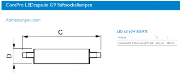Philips R7s LED Stablampe CorePro LEDLinear 6.5W 806Lm warmweiss