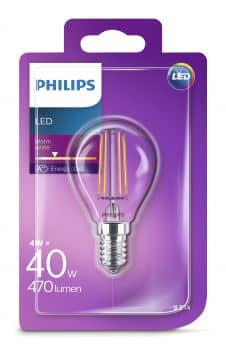 Philips E14 LED Tropfen Filament 4W 470Lm warmweiss