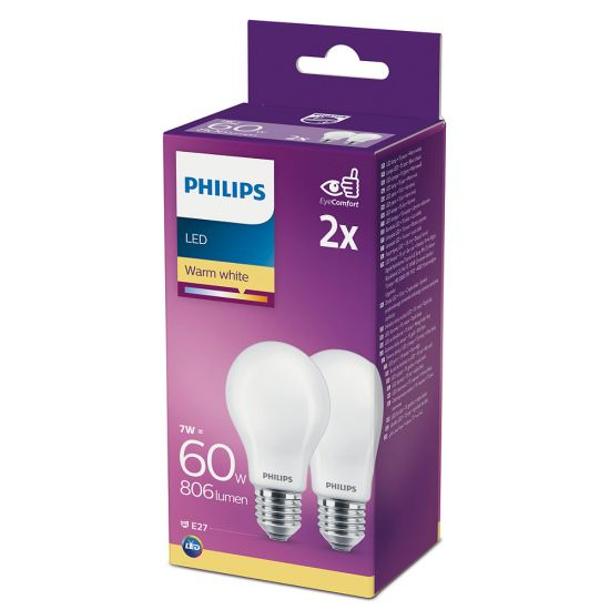 2er-Set Philips LED Birne Classic 7W warmweiss E27 8718699664725