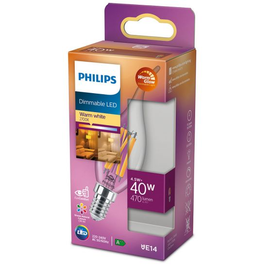 Philips LED Kerze Classic 4.5W E14 WarmGlow dimmbar 8718699770600 warmweiss
