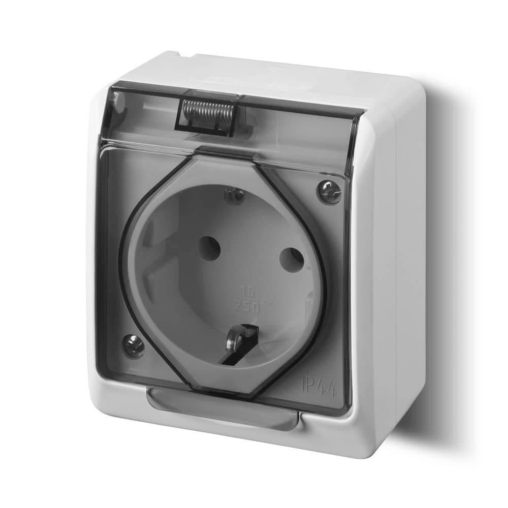 Steckdosen und Schalter für Feuchträume und Außen-Installation ab IP44