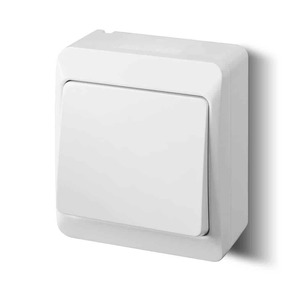 lichtschalter aufputz weiss einfach ip44 feuchtraum ebay. Black Bedroom Furniture Sets. Home Design Ideas