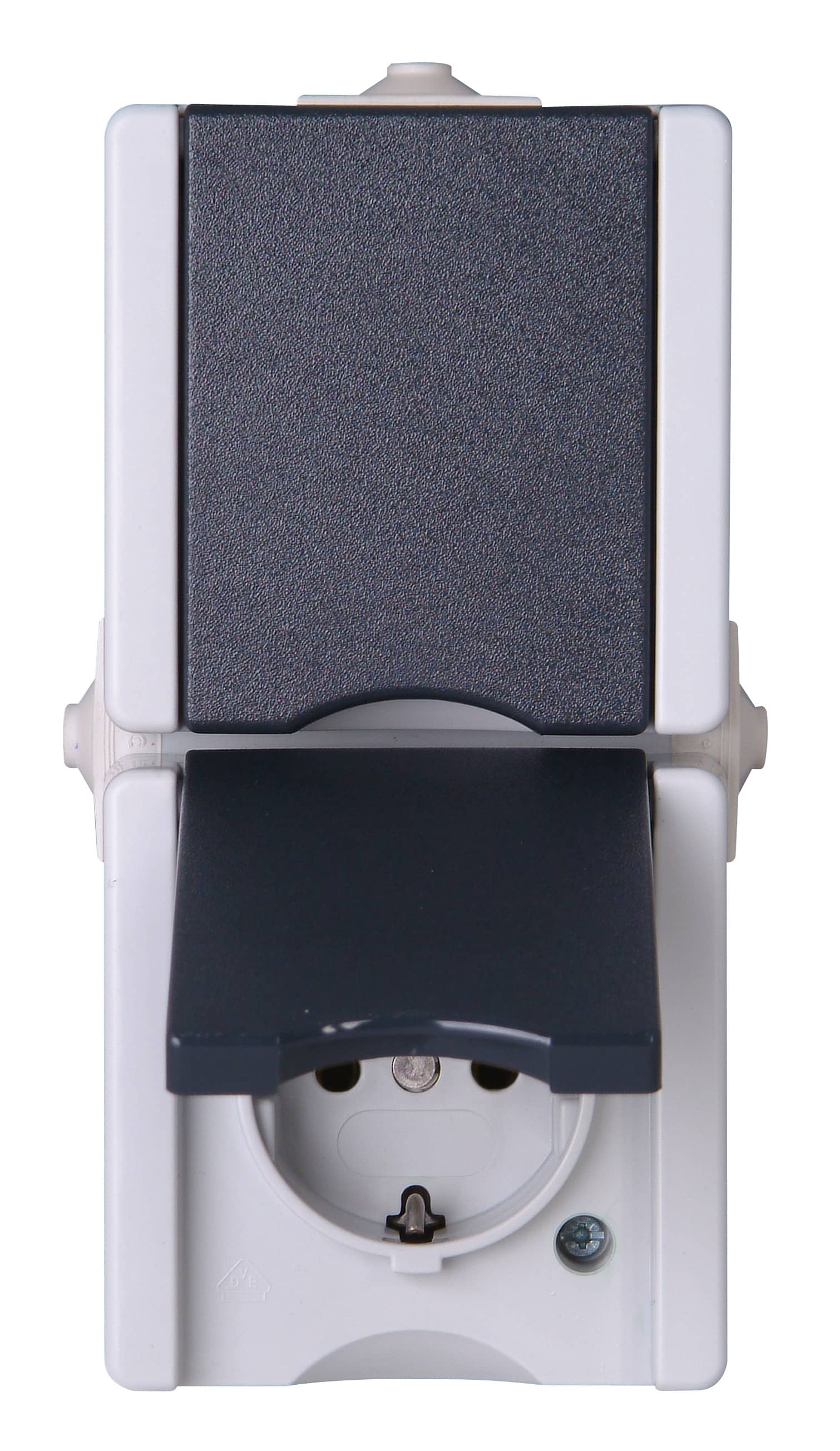 kopp aufputz feuchtraum schutzkontakt steckdose mit klappdeckel 2 fach senkre ebay. Black Bedroom Furniture Sets. Home Design Ideas