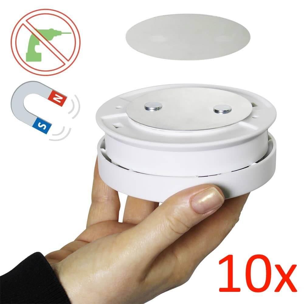 10er set bioledex magnet pad rauchmelder montage ohne bohren klebepad. Black Bedroom Furniture Sets. Home Design Ideas
