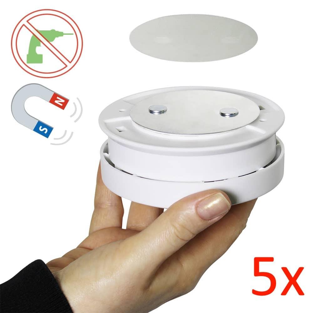 5er set bioledex magnet pad rauchmelder montage ohne bohren klebepad. Black Bedroom Furniture Sets. Home Design Ideas