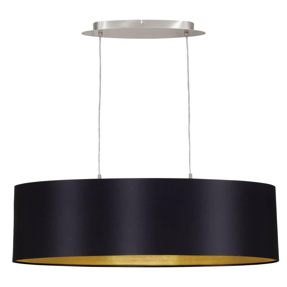 eglo pendelleuchte maserlo 78cm 2xe27 schwarz gold ebay. Black Bedroom Furniture Sets. Home Design Ideas