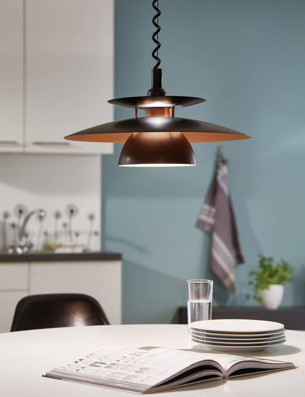 eglo 31666 brenda h ngeleuchte e27 kunststoff stahl schwarz kupfer. Black Bedroom Furniture Sets. Home Design Ideas