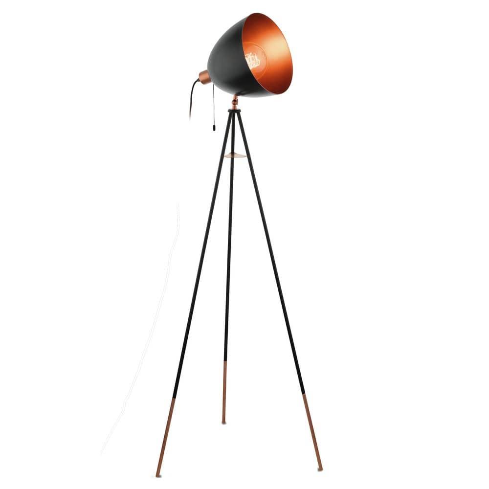 Beeindruckend Stehlampe Kupfer Dekoration Von Eglo 49386 Chester Stehleuchte E27 Stahl Schwarz