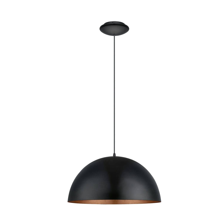 eglo 94938 gaetano 1 pendelleuchte e27 stahl schwarz kupfer. Black Bedroom Furniture Sets. Home Design Ideas