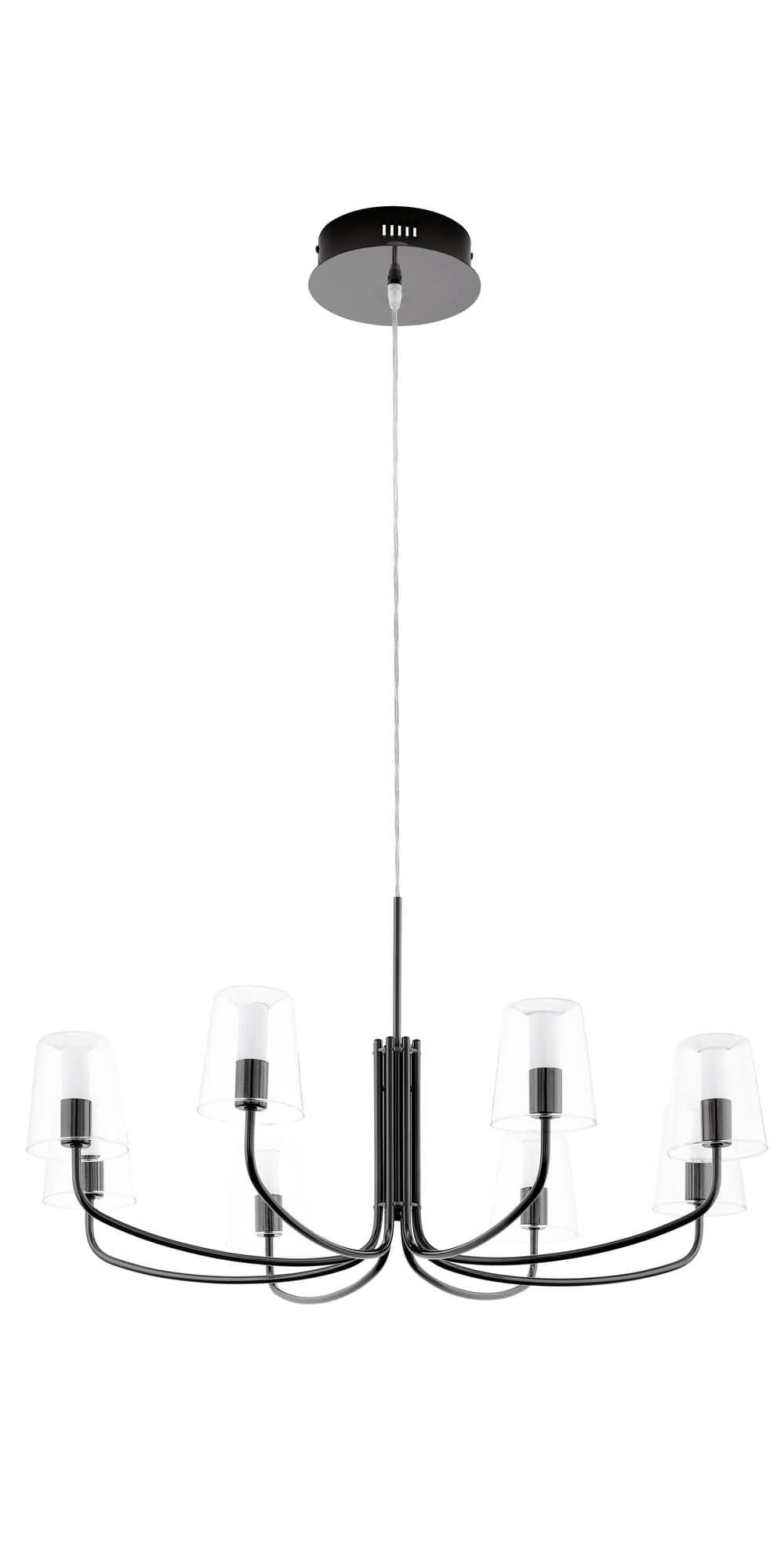 eglo 95006 noventa led h ngeleuchte 8x3 3w nickel nero klar weiss. Black Bedroom Furniture Sets. Home Design Ideas