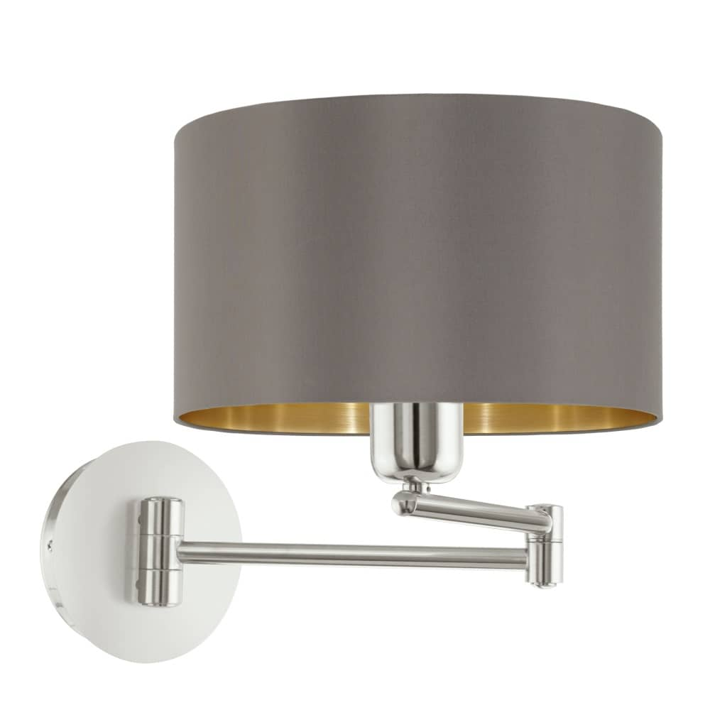 eglo wandleuchte maserlo e27 cappuccino gold mit schalter. Black Bedroom Furniture Sets. Home Design Ideas