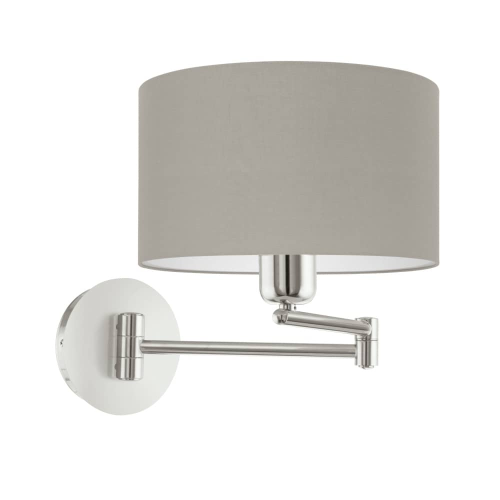eglo wandleuchte pasteri e27 23cm taupe weiss schalter. Black Bedroom Furniture Sets. Home Design Ideas