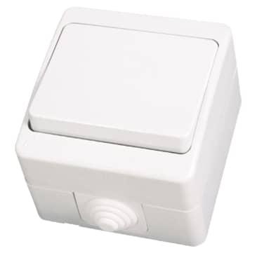 ip54 schalter lichtschalter ein ausschalter feuchtraum aufputz weiss. Black Bedroom Furniture Sets. Home Design Ideas