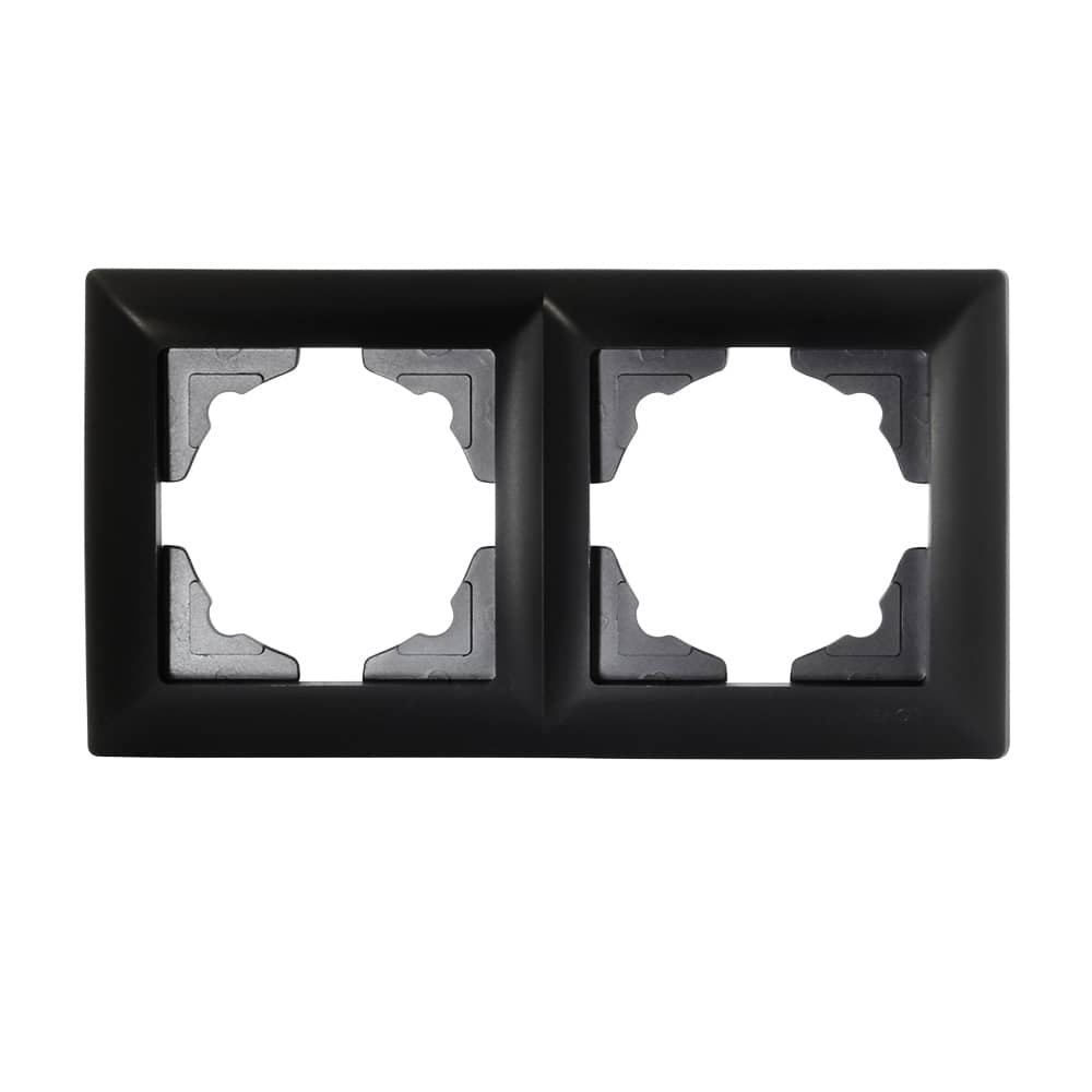 visage 2 fach rahmen f r 2 steckdosen schalter dimmer schwarz ebay. Black Bedroom Furniture Sets. Home Design Ideas