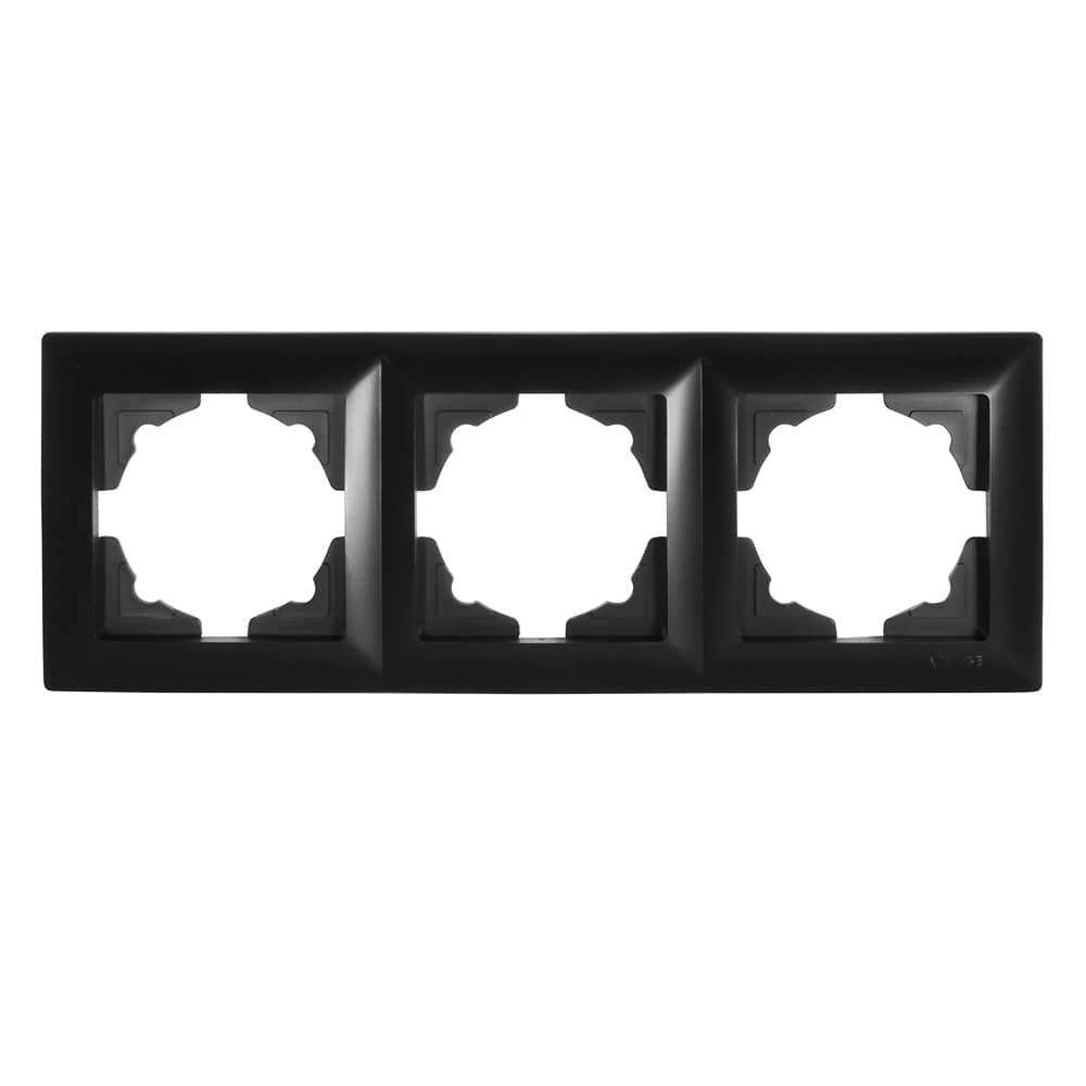 Visage 3-fach Rahmen für 3 Steckdosen Schalter Dimmer Schwarz
