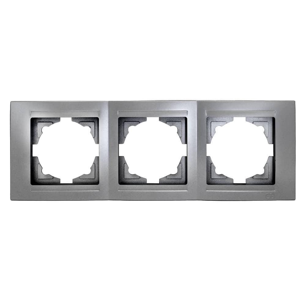 Gunsan Moderna 3-fach Rahmen für 3 Steckdosen Silber jetzt kaufen