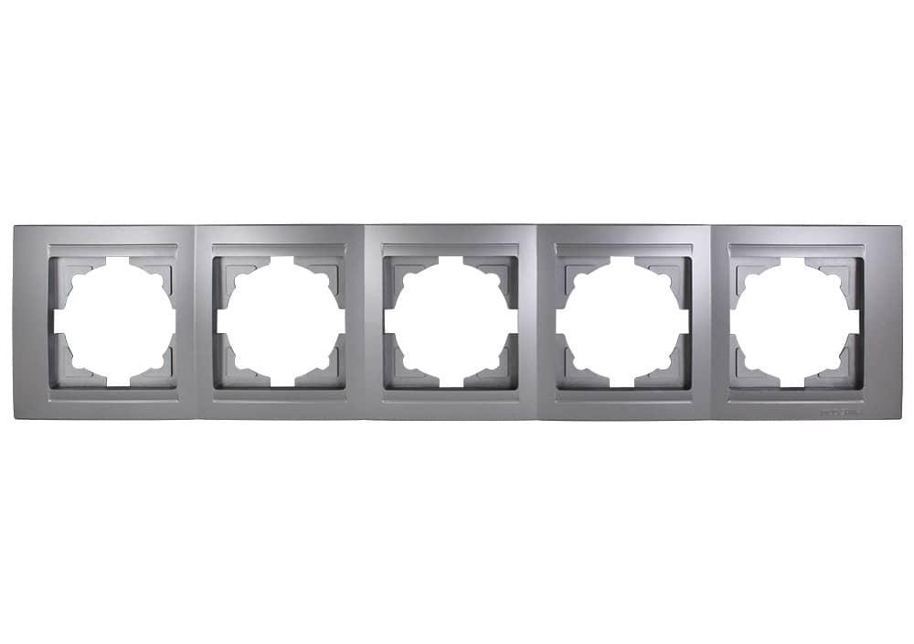 Gunsan Moderna 5-fach Rahmen für 5 Steckdosen Silber - hier kaufen