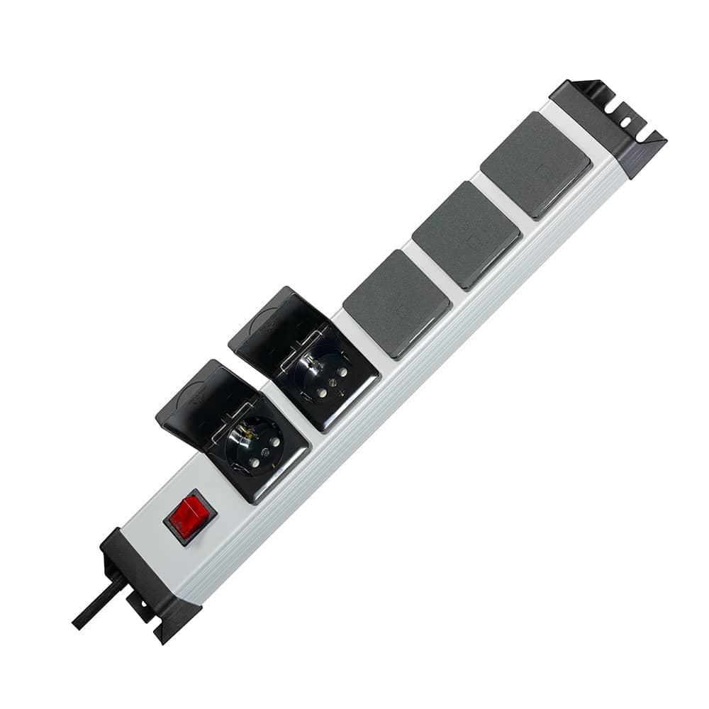 kopp steckdosenleiste powerversal 5 fach mit schalter und klappdeckel. Black Bedroom Furniture Sets. Home Design Ideas