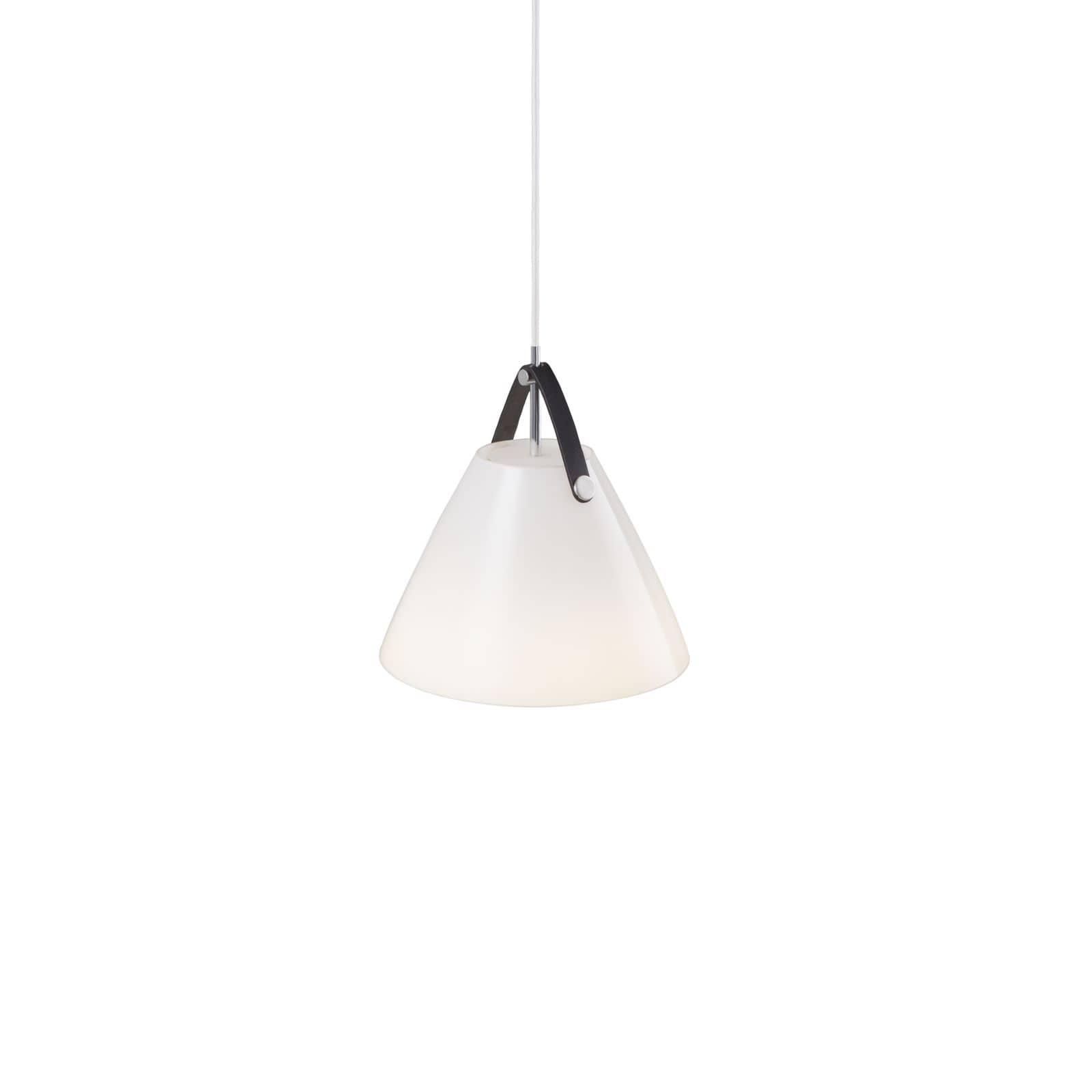 nordlux 84313001 strap e27 pendelleuchte glas echtes leder weiss. Black Bedroom Furniture Sets. Home Design Ideas