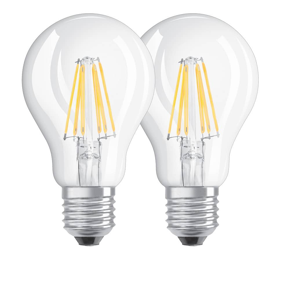 osram e27 led lampe base filament a40 7w 806lm warmweiss doppelpack. Black Bedroom Furniture Sets. Home Design Ideas