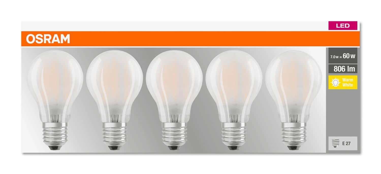 5er-Pack OSRAM BASE E27 A LED Lampe 7W 806Lm 2700K warmweiss wie 60W