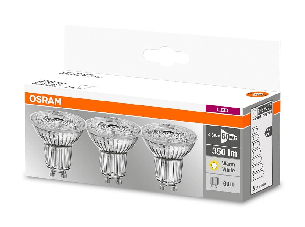 osram 3er pack gu10 led birne base 4 3w 350lm glas warmweiss. Black Bedroom Furniture Sets. Home Design Ideas