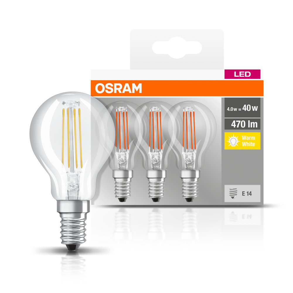 osram base 3 er pack e14 led birne 4w 470lm warmweiss. Black Bedroom Furniture Sets. Home Design Ideas