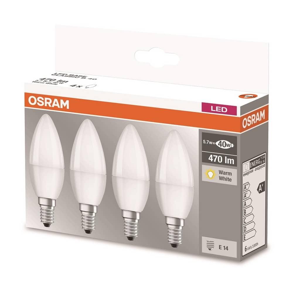 osram 4058075819474 4er pack e14 led kerze base 5 7w 470lm. Black Bedroom Furniture Sets. Home Design Ideas
