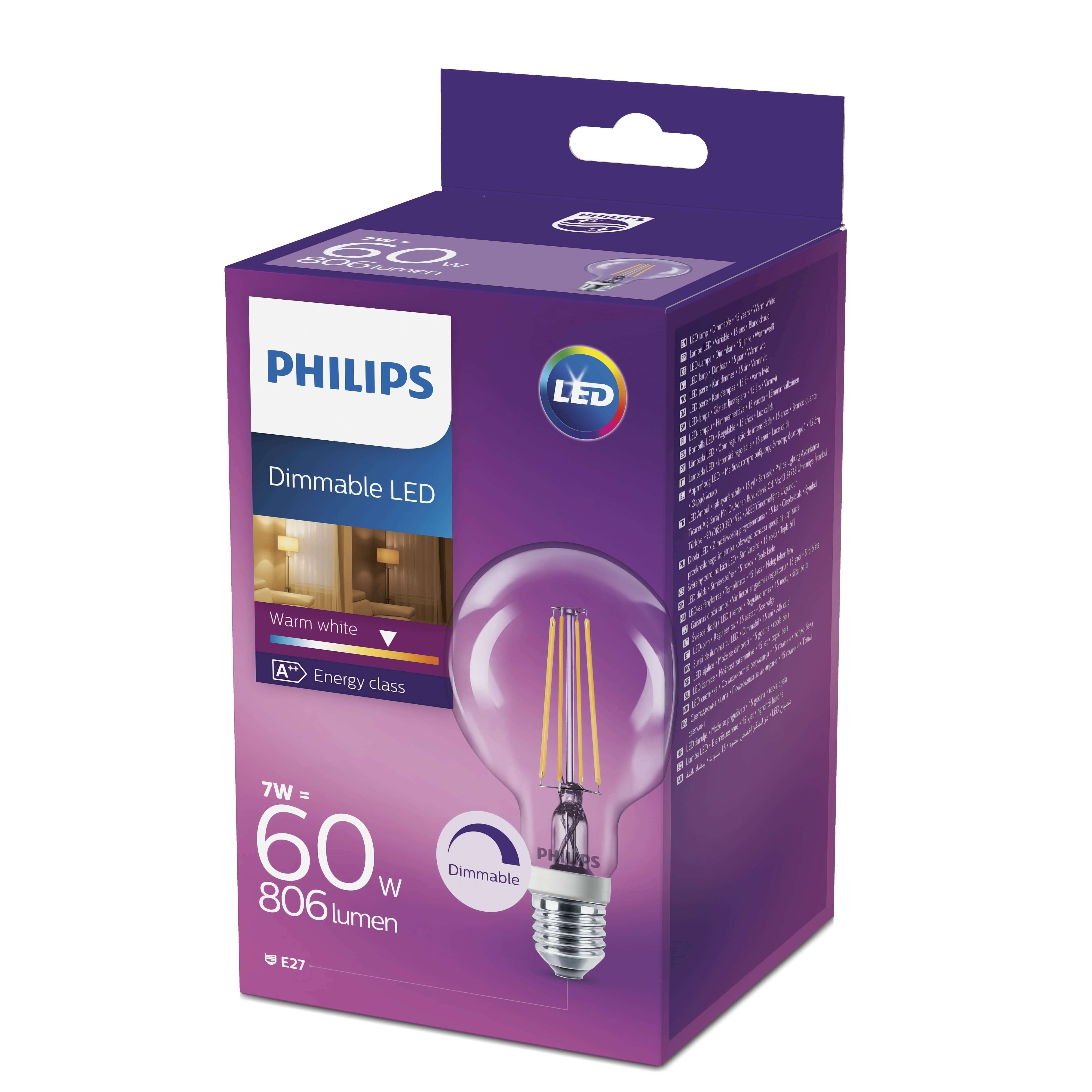 philips e27 led globe filament 7w 806lm warmweiss dimmbar. Black Bedroom Furniture Sets. Home Design Ideas