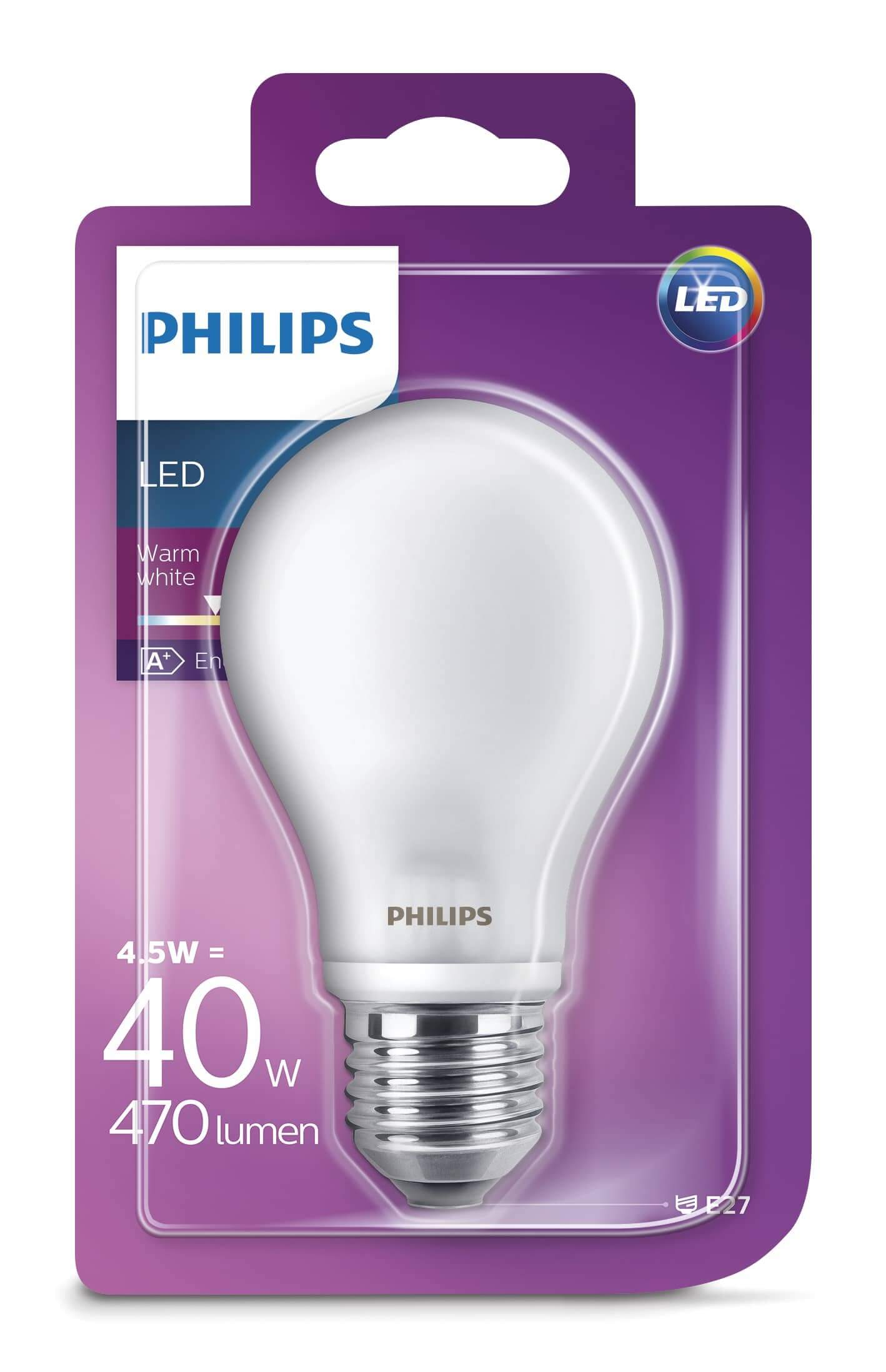 philips e27 led birne ledclassic 4 5w 470lm warmweiss hier kaufen. Black Bedroom Furniture Sets. Home Design Ideas