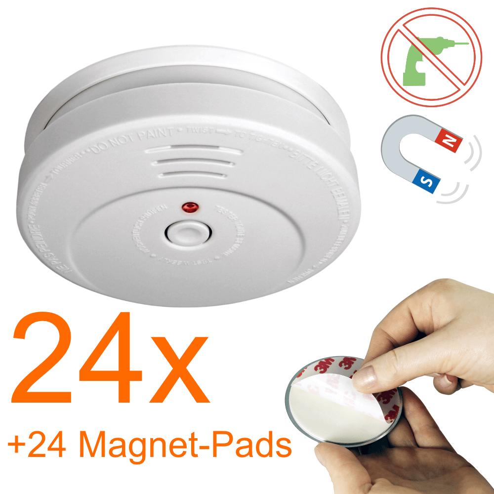 smartwares rauchmelder rm149 inkl batterie mit magnet pad 24er pack. Black Bedroom Furniture Sets. Home Design Ideas
