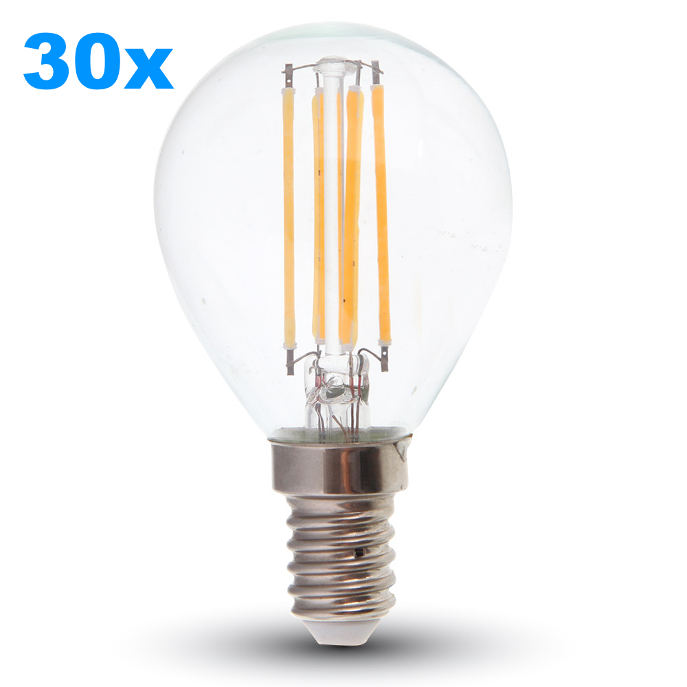 set 30x led filament e14 lampe 4w 320lm warmweiss. Black Bedroom Furniture Sets. Home Design Ideas