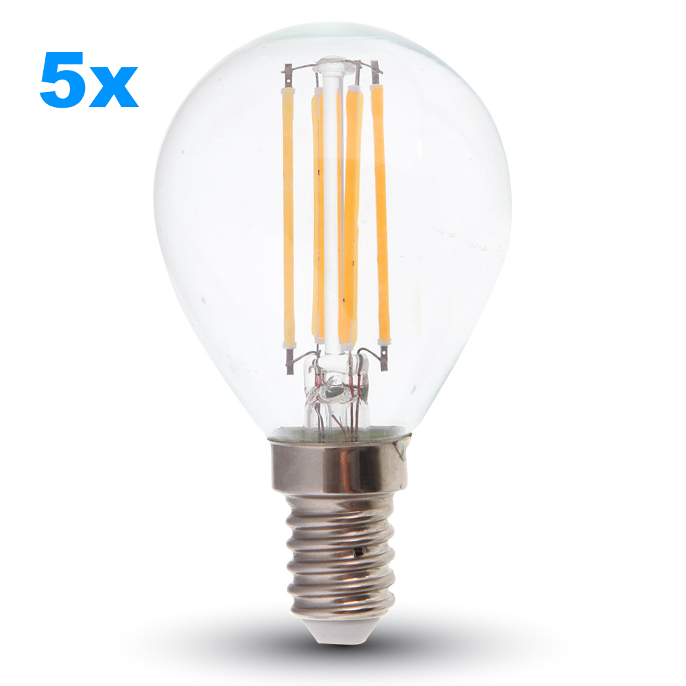 set 5x led filament e14 lampe 4w 320lm warmweiss. Black Bedroom Furniture Sets. Home Design Ideas