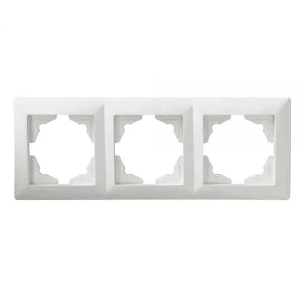 gunsan visage 3 fach rahmen f r 3 steckdosen schalter dimmer weiss. Black Bedroom Furniture Sets. Home Design Ideas
