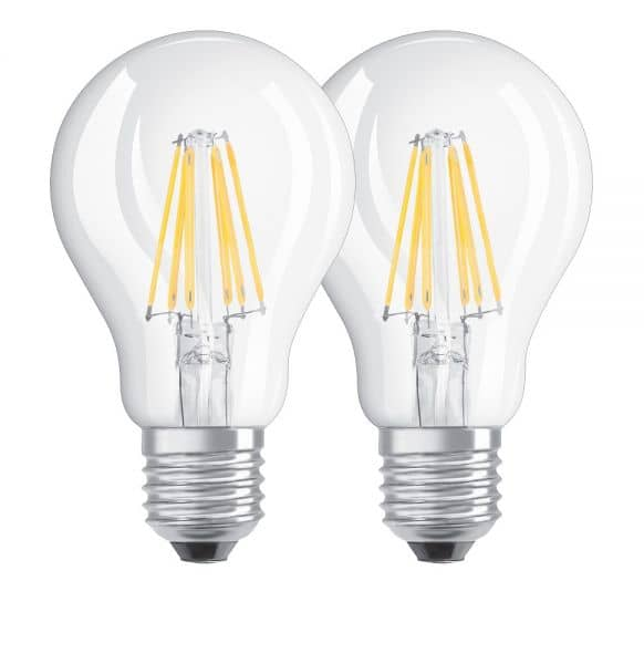 Osram E27 LED Lampe Base Filament A40 7W 806Lm warmweiss Doppelpack