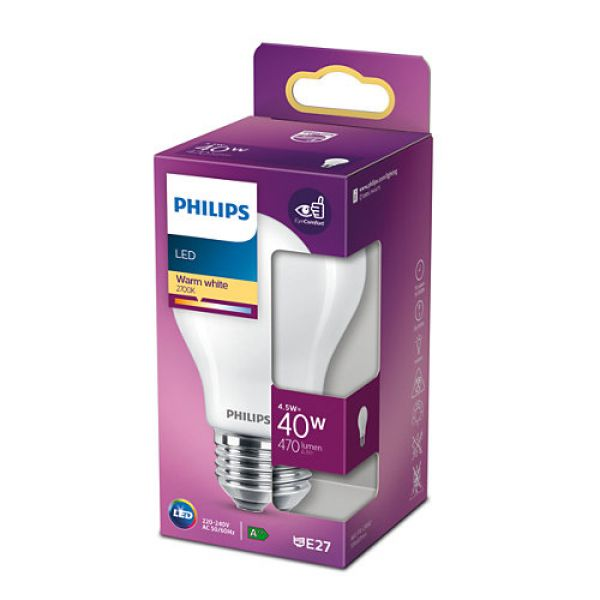 Philips E27 LED Birne Classic 4.5W 470Lm warmweiss 8718699763312