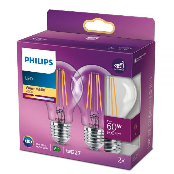 2er-Set Philips LED Birne Classic 7W warmweiss E27 8718699777739