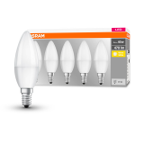 5er Pack Osram LED Kerze BASE Classic B FR 5W warmweiss E14 4058075152694 wie 40W