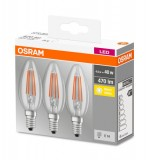 3er-Pack Osram LED Kerze BASE Classic E14 Filament klar 4W warmweiss wie 40W