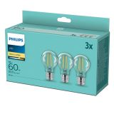 Philips Classic LED Lampe 7W A60 E27 warmweiss 3er Multipack  8718699710071