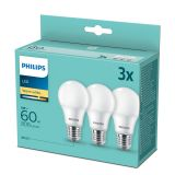 3er-Set Philips LED Birne 8W warmweiss E27 8718699775490