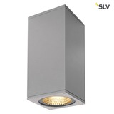 SLV 234514 BIG THEO WALL Outdoor Wandleuchte zweiflammig LED 3000K Flood up Beam down silbergrau B H T 13 29 13,5 cm