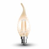 LED Filament E14 Kerze 4W 350Lm extra-warmweiss amber gold Windstoß geschwungen